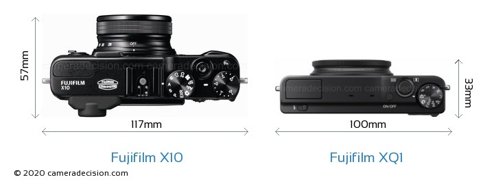 Fujifilm X10 vs Fujifilm XQ1 Camera Size Comparison - Top View