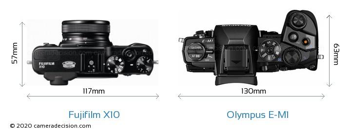 Fujifilm X10 vs Olympus E-M1 Camera Size Comparison - Top View