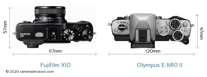 Fujifilm X10 vs Olympus E-M10 II Camera Size Comparison - Top View