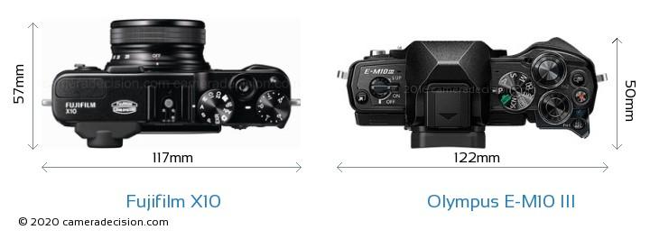 Fujifilm X10 vs Olympus E-M10 MIII Camera Size Comparison - Top View