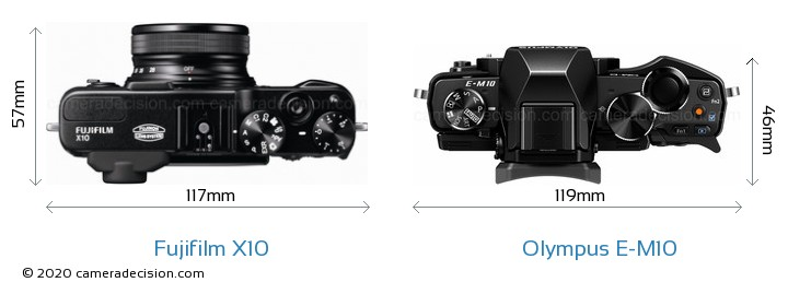 Fujifilm X10 vs Olympus E-M10 Camera Size Comparison - Top View