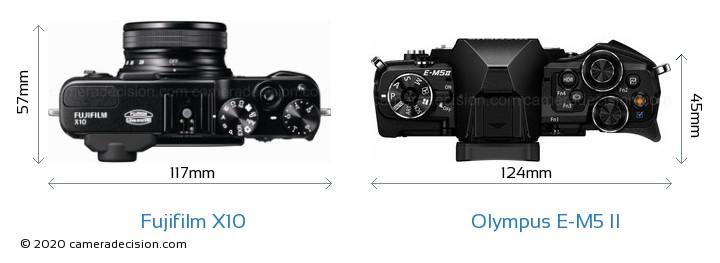 Fujifilm X10 vs Olympus E-M5 II Camera Size Comparison - Top View