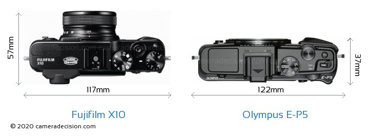 Fujifilm X10 vs Olympus E-P5 Camera Size Comparison - Top View
