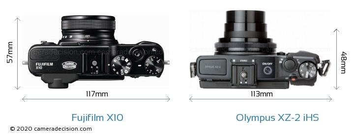 Fujifilm X10 vs Olympus XZ-2 iHS Camera Size Comparison - Top View