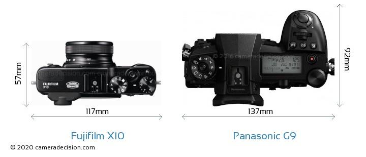 Fujifilm X10 vs Panasonic G9 Camera Size Comparison - Top View