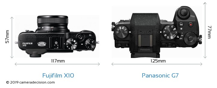 Fujifilm X10 vs Panasonic G7 Camera Size Comparison - Top View