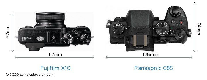 Fujifilm X10 vs Panasonic G85 Camera Size Comparison - Top View