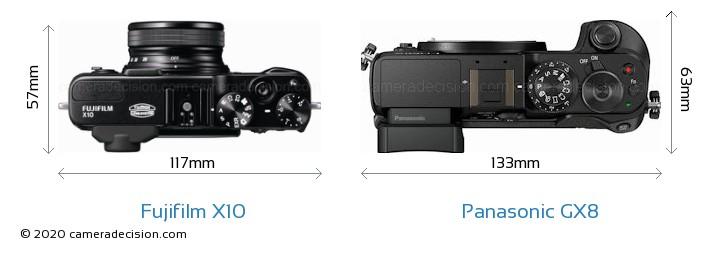Fujifilm X10 vs Panasonic GX8 Camera Size Comparison - Top View