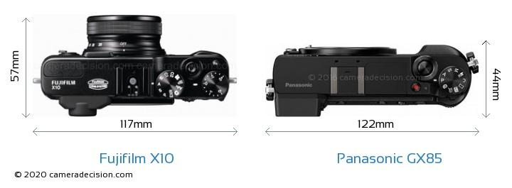 Fujifilm X10 vs Panasonic GX85 Camera Size Comparison - Top View