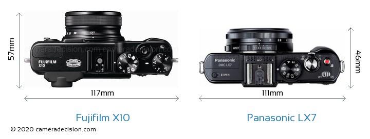 Fujifilm X10 vs Panasonic LX7 Camera Size Comparison - Top View
