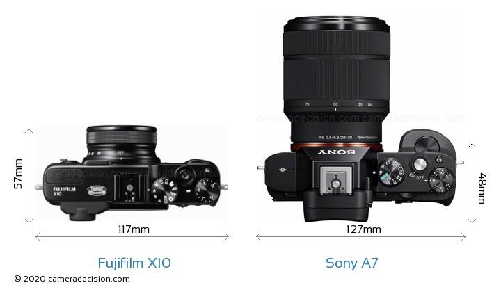 Fujifilm X10 vs Sony A7 Camera Size Comparison - Top View