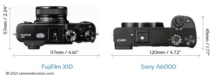 Fujifilm X10 vs Sony A6000 Camera Size Comparison - Top View