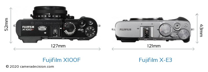 Fujifilm X100F vs Fujifilm X-E3 Camera Size Comparison - Top View