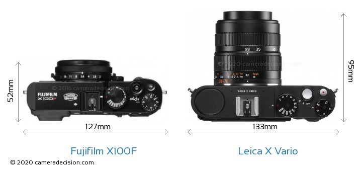 Fujifilm X100F vs Leica X Vario Camera Size Comparison - Top View