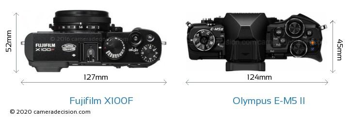 Fujifilm X100F vs Olympus E-M5 II Camera Size Comparison - Top View