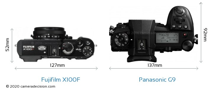 Fujifilm X100F vs Panasonic G9 Camera Size Comparison - Top View