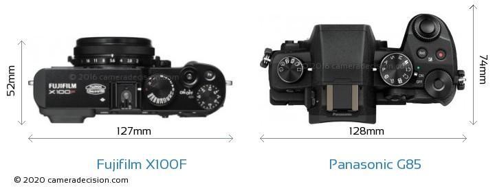 Fujifilm X100F vs Panasonic G85 Camera Size Comparison - Top View