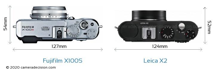 Fujifilm X100S vs Leica X2 Camera Size Comparison - Top View