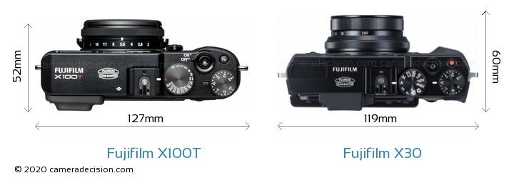 Fujifilm X100T vs Fujifilm X30 Camera Size Comparison - Top View