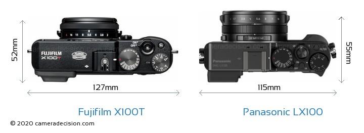 Fujifilm X100T vs Panasonic LX100 Camera Size Comparison - Top View