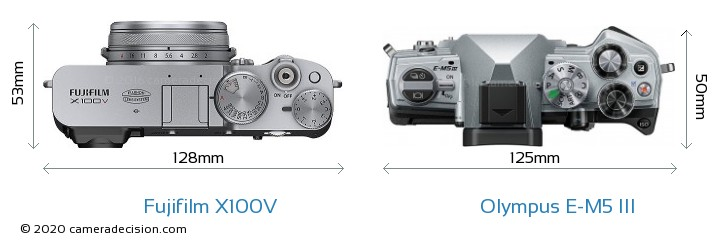 Fujifilm X100V vs Olympus E-M5 III Camera Size Comparison - Top View