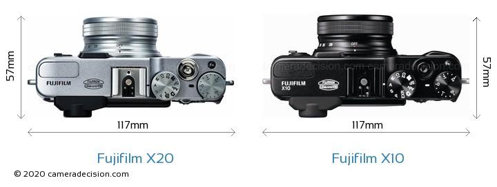 Fujifilm X20 vs Fujifilm X10 Camera Size Comparison - Top View