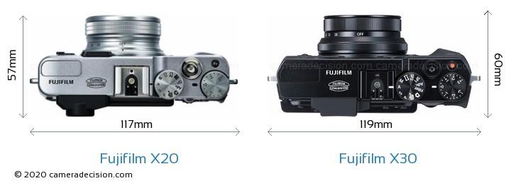 Fujifilm X20 vs Fujifilm X30 Camera Size Comparison - Top View
