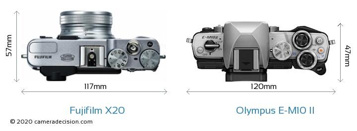 Fujifilm X20 vs Olympus E-M10 II Camera Size Comparison - Top View