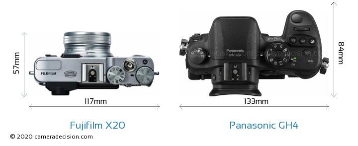 Fujifilm X20 vs Panasonic GH4 Camera Size Comparison - Top View
