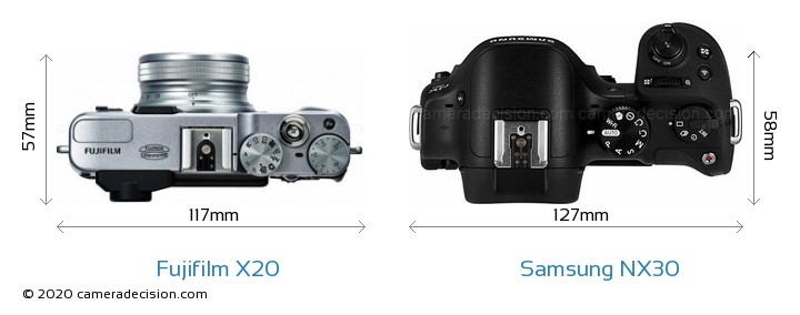 Fujifilm X20 vs Samsung NX30 Camera Size Comparison - Top View