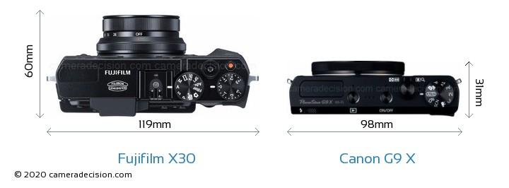 Fujifilm X30 vs Canon G9 X Camera Size Comparison - Top View