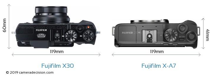 Fujifilm X30 vs Fujifilm X-A7 Camera Size Comparison - Top View