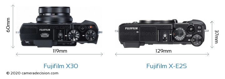 Fujifilm X30 vs Fujifilm X-E2S Camera Size Comparison - Top View