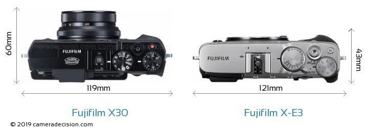 Fujifilm X30 vs Fujifilm X-E3 Camera Size Comparison - Top View
