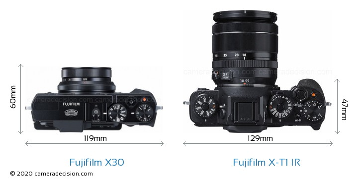 Fujifilm X30 vs Fujifilm X-T1 IR Camera Size Comparison - Top View