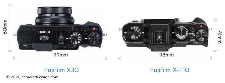 Fujifilm X30 vs Fujifilm X-T10 Camera Size Comparison - Top View