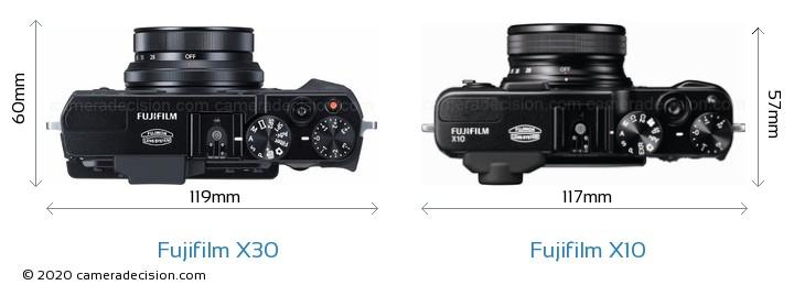 Fujifilm X30 vs Fujifilm X10 Camera Size Comparison - Top View