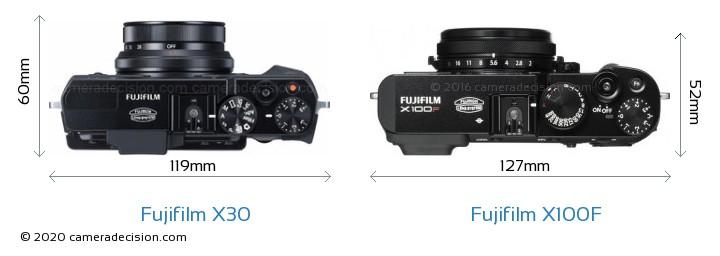 Fujifilm X30 vs Fujifilm X100F Camera Size Comparison - Top View