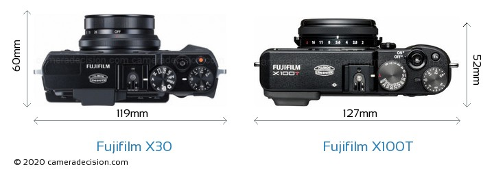 Fujifilm X30 vs Fujifilm X100T Camera Size Comparison - Top View