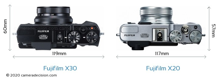 Fujifilm X30 vs Fujifilm X20 Camera Size Comparison - Top View