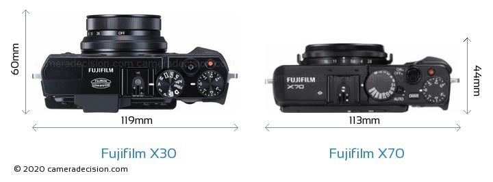 Fujifilm X30 vs Fujifilm X70 Camera Size Comparison - Top View