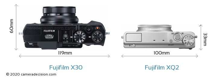 Fujifilm X30 vs Fujifilm XQ2 Camera Size Comparison - Top View
