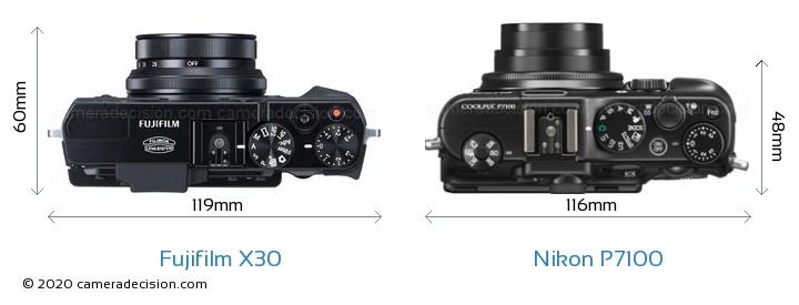 Fujifilm X30 vs Nikon P7100 Camera Size Comparison - Top View