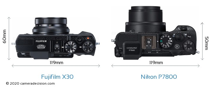 Fujifilm X30 vs Nikon P7800 Camera Size Comparison - Top View