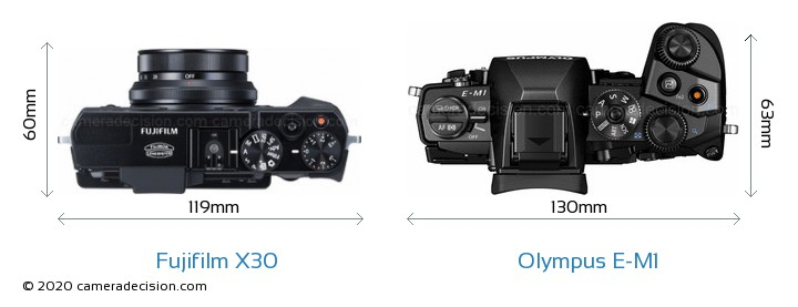 Fujifilm X30 vs Olympus E-M1 Camera Size Comparison - Top View