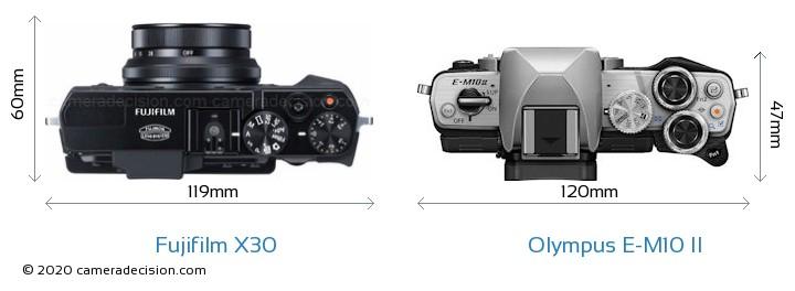 Fujifilm X30 vs Olympus E-M10 II Camera Size Comparison - Top View