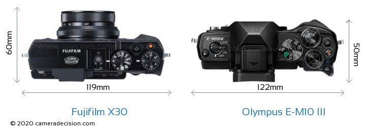 Fujifilm X30 vs Olympus E-M10 MIII Camera Size Comparison - Top View