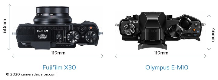 Fujifilm X30 vs Olympus E-M10 Camera Size Comparison - Top View