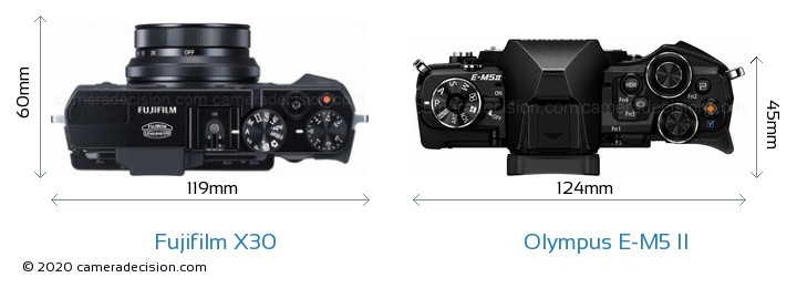 Fujifilm X30 vs Olympus E-M5 II Camera Size Comparison - Top View