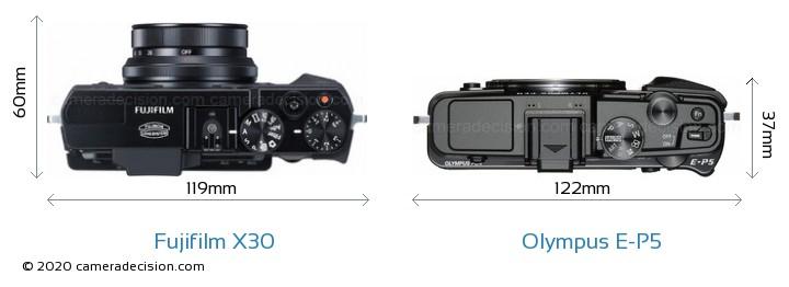 Fujifilm X30 vs Olympus E-P5 Camera Size Comparison - Top View
